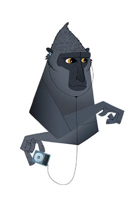 Black Monkey with iPod-mini av ThomasWoody