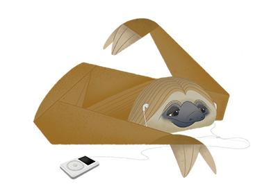 Sloth with iPod av ThomasWoody
