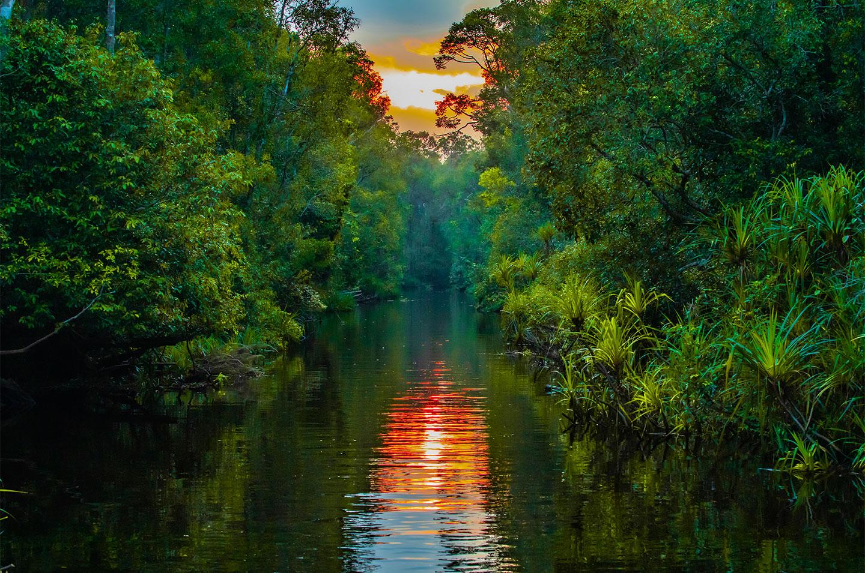 Køb Sunset on the river av Thomas Stubergh